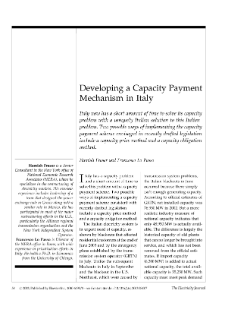 Developing a Capacity Payment Mechanism in Italy