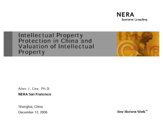 Intellectual Property Protection in China and Valuation of Intellectual Property