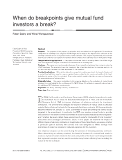 When Do Breakpoints Give Mutual Fund Investors a Break?