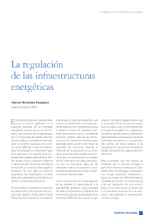 La regulación de las infraestructuras energéticas (Regulation of Energy Infrastructures)