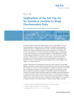 Implications of the Fair Pay Act for Statistical Analysis in Wage Discrimination Suits