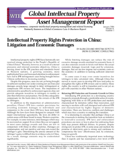 Intellectual Property Rights Protection in China: Litigation and Economic Damages