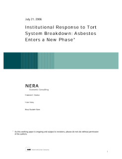 Institutional Response to Tort System Breakdown: Asbestos Enters a New Phase