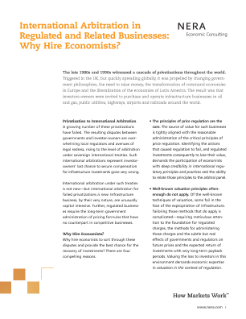 International Arbitration in Regulated and Related Businesses: Why Hire Economists?
