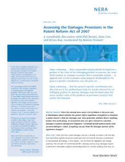Assessing the Damages Provisions in the Patent Reform Act of 2007