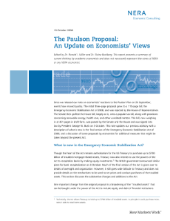 The Paulson Proposal: An Update on Economists' Views