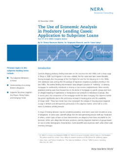 The Use of Economic Analysis in Predatory Lending Cases: Application to Subprime Loans