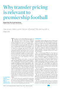 Why Transfer Pricing is Relevant to Premiership Football