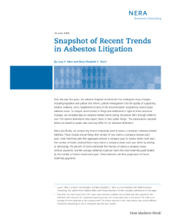 Snapshot of Recent Trends in Asbestos Litigation