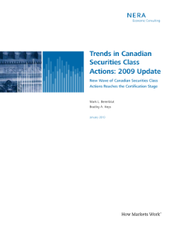 Trends in Canadian Securities Class Actions: 2009 Update