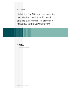 Liability for Misstatements to the Market and the Role of Expert Economic Testimony -- Response to the Davies Review