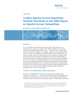Is More Special Access Regulation Needed? Reactions to the NRRI Report on Special Access Competition