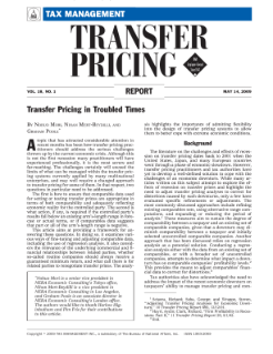 Transfer Pricing in Troubled Times
