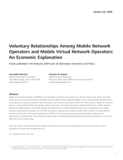 Voluntary Relationships Among Mobile Network Operators and Mobile Virtual Network Operators: An Economic Explanation