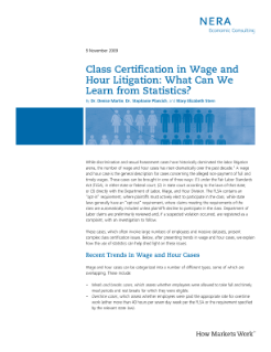 Class Certification in Wage and Hour Litigation: What Can We Learn from Statistics?