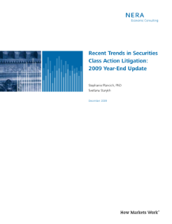 Recent Trends in Securities Class Action Litigation: 2009 Year End Update