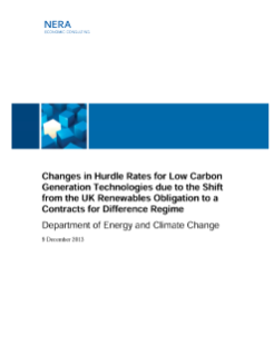 Changes in Hurdle Rates for Low Carbon Generation Technologies due to the Shift from the UK Renewables Obligation to a Contracts for Difference Regime