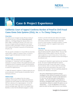 California Court of Appeal Confirms Burden of Proof in Civil Fraud Cases -- Korea Data Systems (USA), Inc. v. Yu Chang Chiang et al.