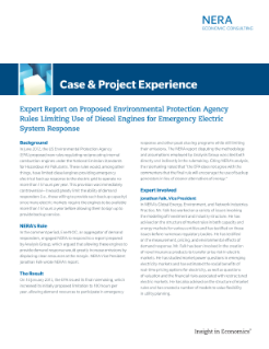 Expert Report on Proposed Environmental Protection Agency Rules Limiting Use of Diesel Engines for Emergency Electric System Response