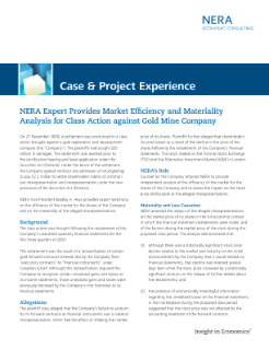 NERA Expert Provides Market Efficiency and Materiality Analysis for Class Action against Gold Mine Company