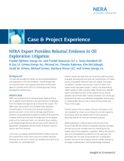 NERA Expert Provides Rebuttal Evidence in Frankel Oil Exploration Litigation