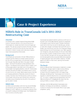 NERA's Role in TransCanada Ltd.'s 2011–2012 Restructuring Case