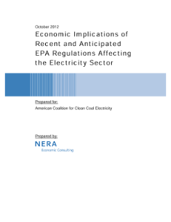 Economic Implications of Recent and Anticipated EPA Regulations Affecting the Electricity Sector