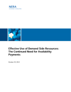 Effective Use of Demand Side Resources: The Continued Need for Availability Payments