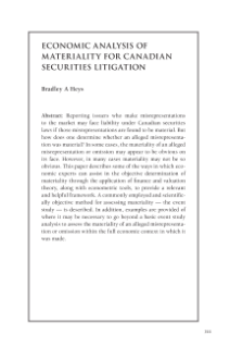 Economic Analysis of Materiality for Canadian Securities Litigation