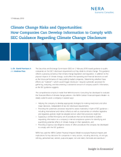 Climate Change Risks and Opportunities: How Companies Can Develop Information to Comply with SEC Guidance Regarding Climate Change Disclosure