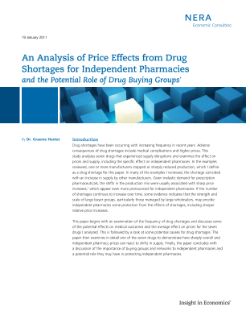 An Analysis of Price Effects from Drug Shortages for Independent Pharmacies and the Potential Role of Drug Buying Groups