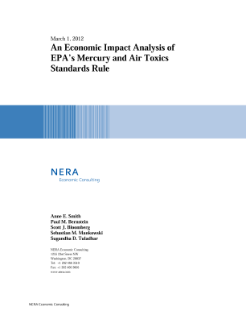 An Economic Impact Analysis of EPA's Mercury and Air Toxics Standards Rule