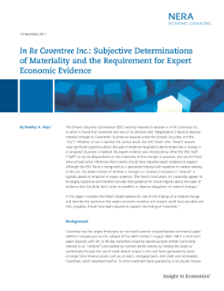 In Re Coventree Inc.: Subjective Determinations of Materiality and the Requirement for Expert Economic Evidence