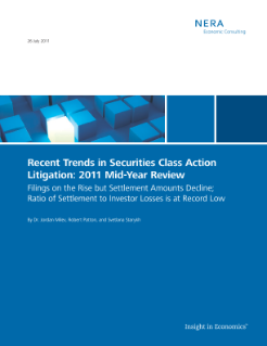Recent Trends in Securities Class Action Litigation: 2011 Mid-Year Review
