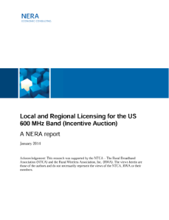 Local and Regional Licensing for the US 600 MHz Band (Incentive Auction)