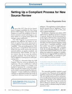 Setting Up a Compliant Process for New Source Review