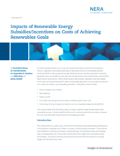 Impacts of Renewable Energy Subsidies/Incentives on Costs of Achieving Renewables Goals