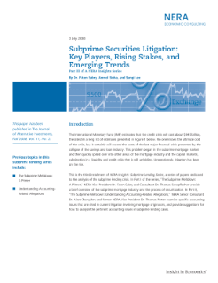 Subprime Securities Litigation: Key Players, Rising Stakes, and Emerging Trends