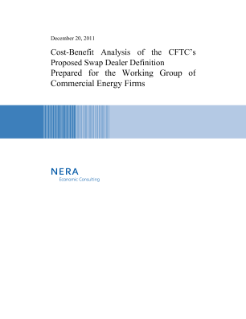 Cost-Benefit Analysis of the CFTC's Proposed Swap Dealer Definition