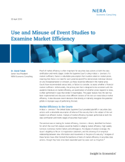 Use and Misuse of Event Studies to Examine Market Efficiency