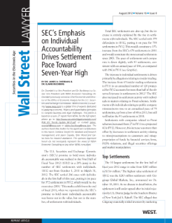 SEC's Emphasis on Individual Accountability Drives Settlement Pace Toward Seven-Year High