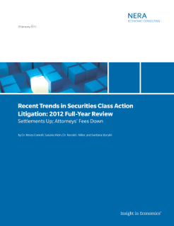 Recent Trends in Securities Class Action Litigation: 2012 Full-Year Review