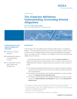 The Subprime Meltdown: Understanding Accounting-Related Allegations