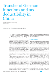 Transfer of German Functions and Tax Deductibility in China