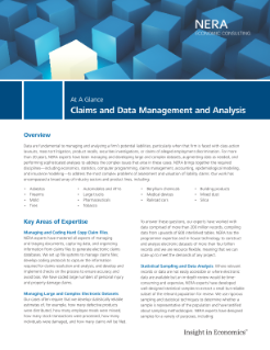 Claims and Data Management and Analysis At A Glance