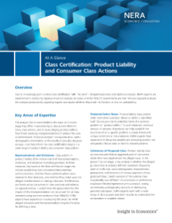 Class Certification: Product Liability and Consumer Class Actions