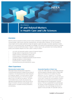 IP and Related Matters in Health Care and Life Sciences