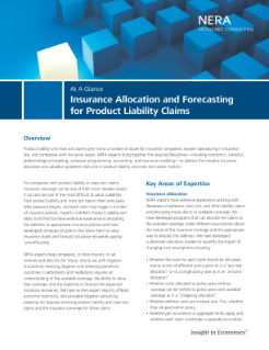 Insurance Allocation and Forecasting for Product Liability Claims