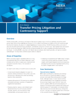 Transfer Pricing Litigation and Controversy Support At A Glance