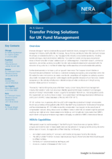 Transfer Pricing Solutions for UK Fund Management At A Glance